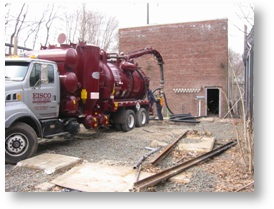 Vac Truck next to substation building