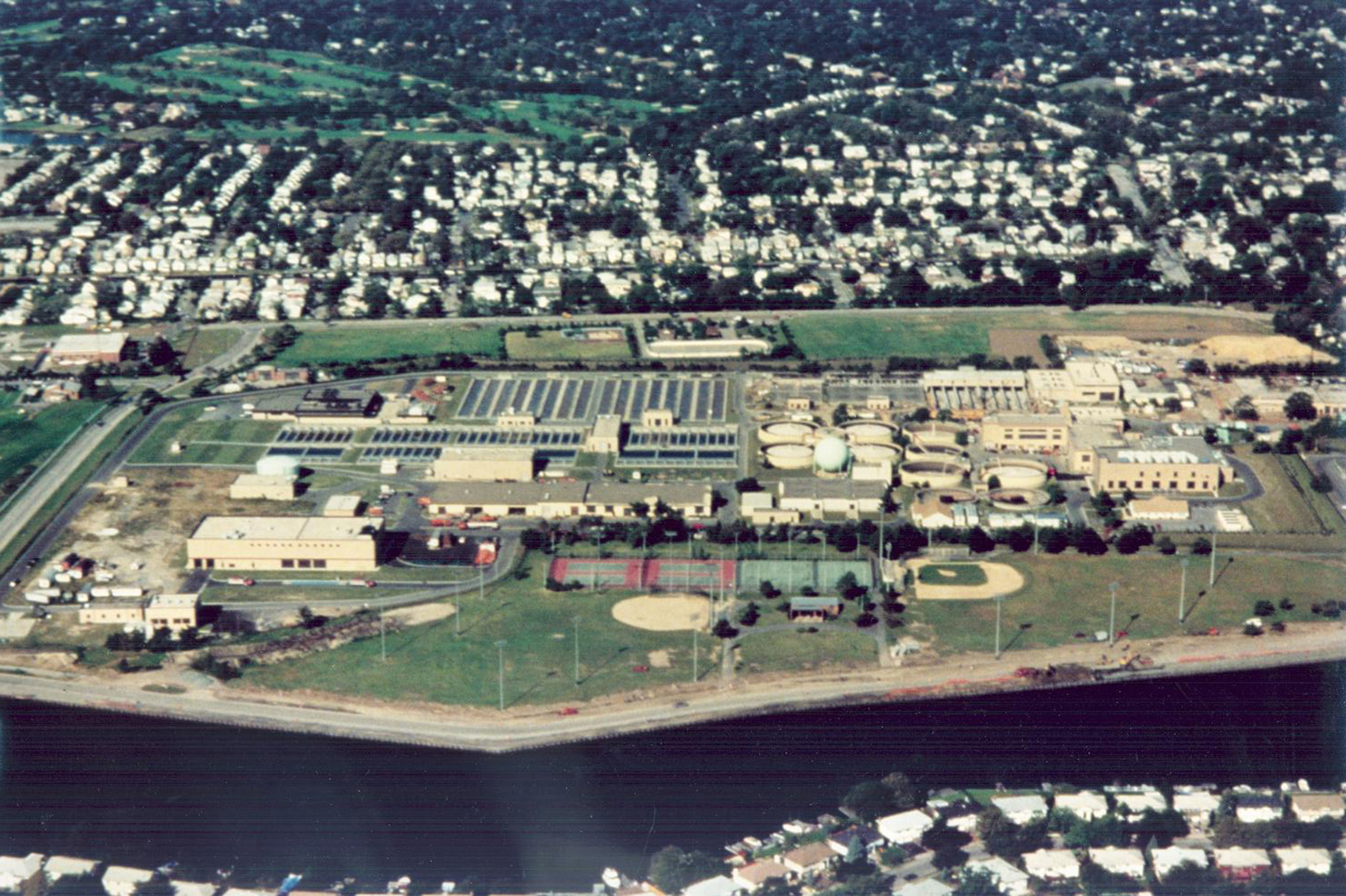 1992 aerial view Cedar Creek Water Pollution Control Plant