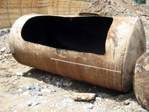 Underground Storage Tank cut open on the side